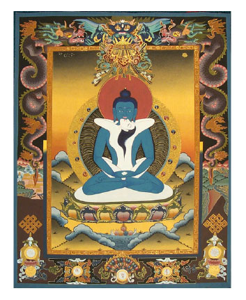 The primordial Dharmakaya Buddha, Samantabhadra, depicts the  subtle body union that results in Buddhahood