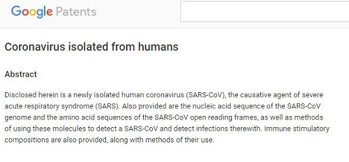 patent for SARS-CoV